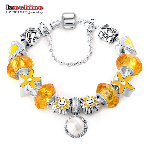 Yellow Color Bracelets & Bangles with White Pearl Ball Antique Silver Jewelry