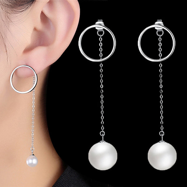 GAGAFEEL 100% 925 Sterling Silver Long Chain Drop Earrings For Women High Quality Simulated Pearls Circle Long Earrings
