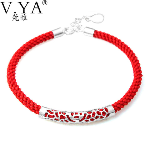 Red Rope Chain 100% Real 925 Sterling Silver Bracelet High Quality