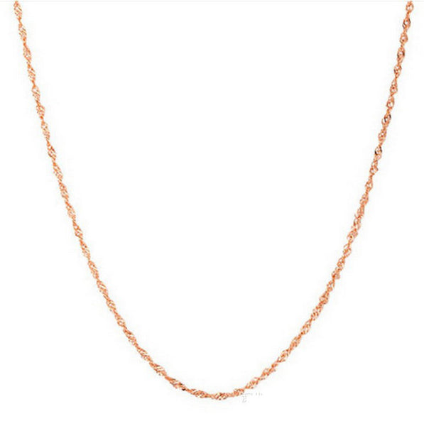 Wholesale 100% Real Pure 925 Sterling Silver chain necklace rose gold color slim chain
