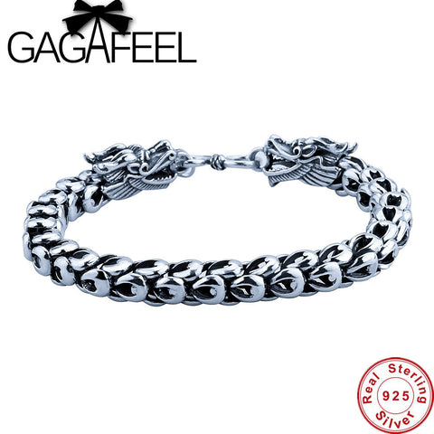 Bracelet For Men Sterling-Silver-Jewelry Real 925 Thai Silver.