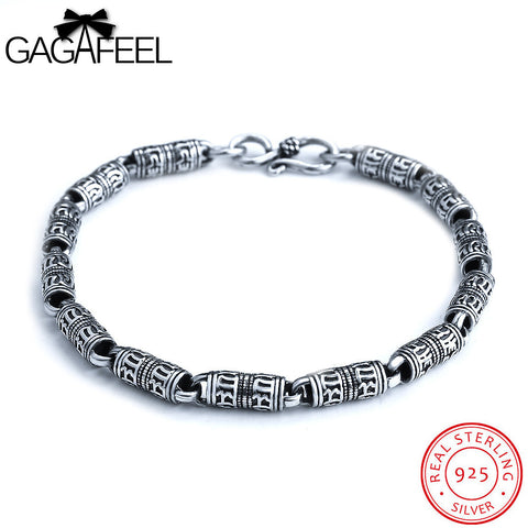 Retro Bracelet 925 Sterling Silver Men Jewelry Width 5/6MM Six Words Of Mantra Wristband .