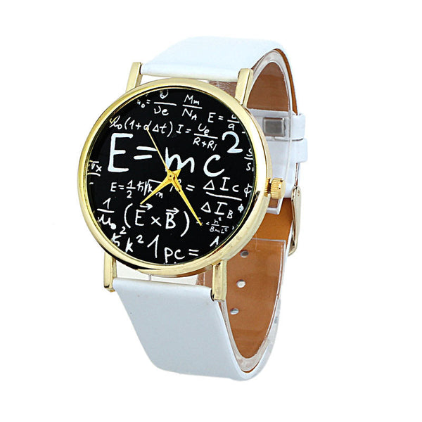 Luxury Womens Math Symbols Faux Leather Analog Quartz Watch