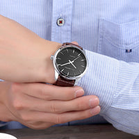 Fashion Men Casual Checkers Faux Leather Quartz Analog Wrist Watch