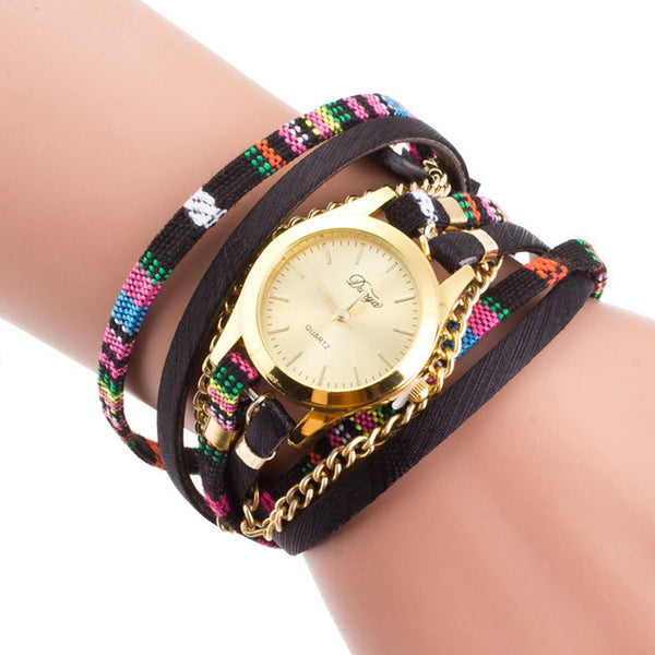 Women Wrap Braided Faux Leather Analog Quartz Bracelet Wrist Watch