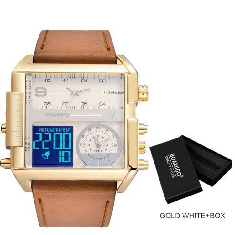 3 Time Zones Digital Rectangle Watch