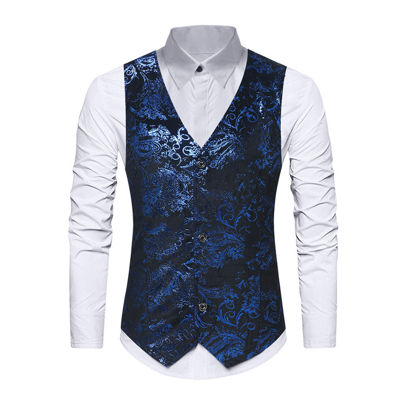 Men's Floral Printed Single Breasted Suit Vest Business Waistcoat