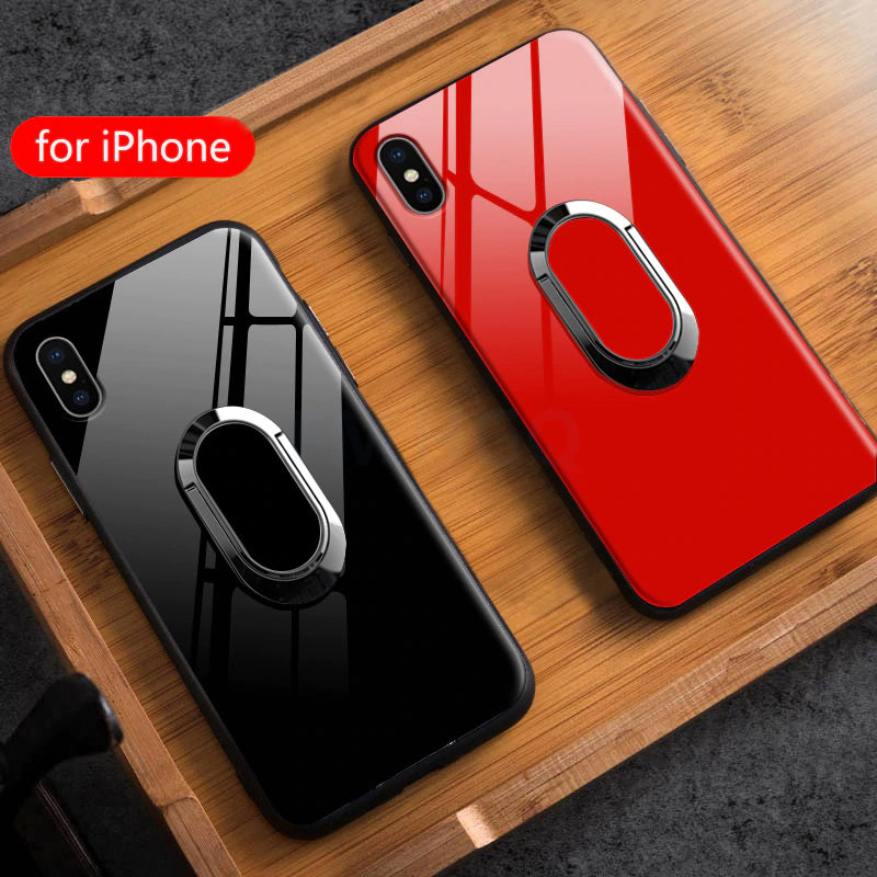Ring Holder Phone Case For iPhone X XS Magnetic Car Stand TPU+Ultra Thin Tempered Glass