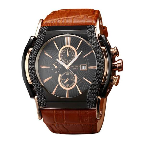 Men's Date Display Leather Wristwatch