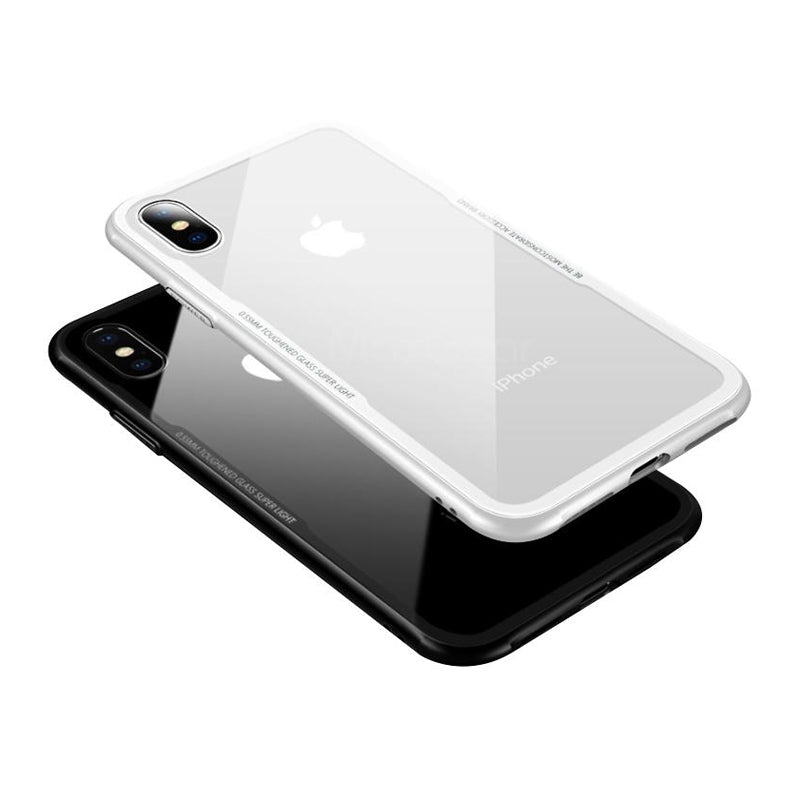 Tempered Glass Case For iPhone X Hybrid Hard Glass + Soft Mirror Surface