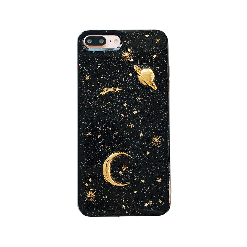 Gold Moon Stars Planet Iphone X Cases Bling Glitter Universe Cover