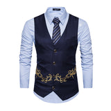 Formal Blazer Casual Single Breasted V-neck Embroidery Vest
