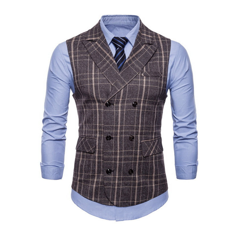 Men's Stripe Formal Vests Casual Double Breasted V-neck Vest