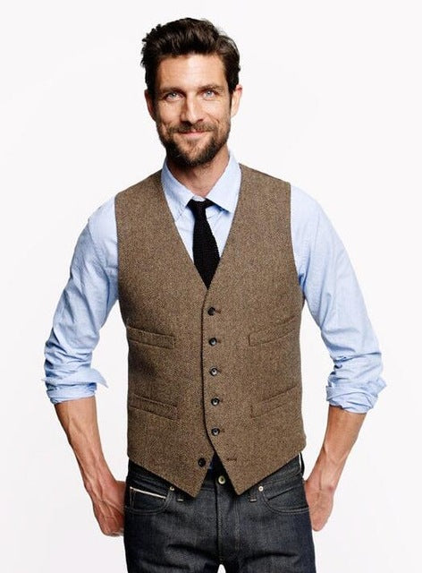 Men's Tweed Suit Vest Vintage Slim Fit Groom's Wear Vest
