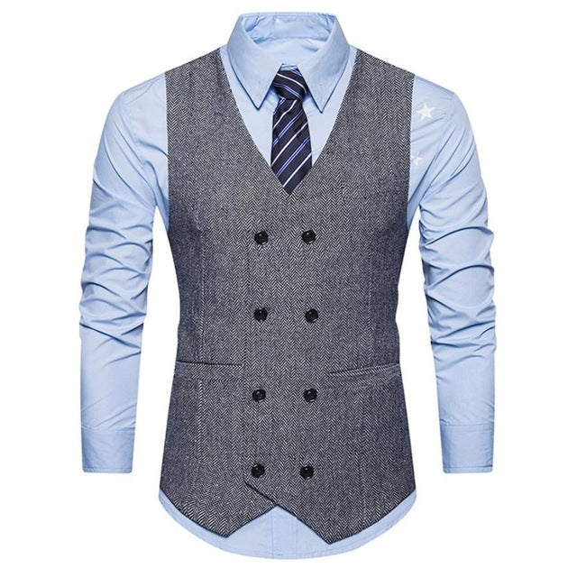 Men's Formal Tweed Check Double Breasted Vest Waistcoat