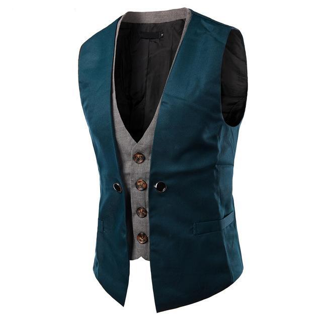 Men's Vest Slim Fit Double Vest Party Gilet Costume