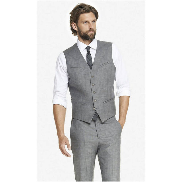 Light Grey Men's Waistcoat Formal Business Vest Prom Party Wear