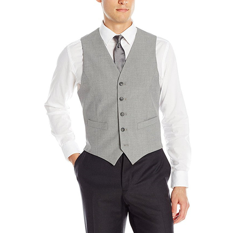 Light Grey Formal Slim Fit Business Men's Plain-Weave Five-Button Vest