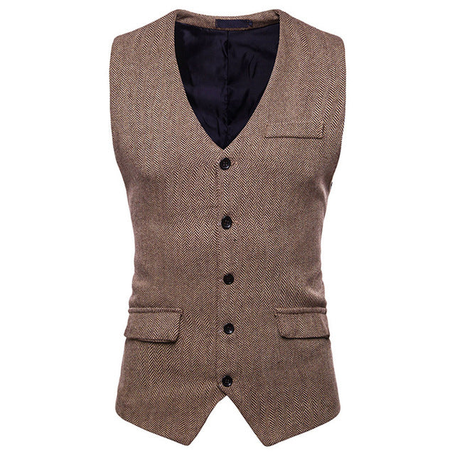 Men's  Suit Vest Jacket Casual Single Breasted Vest