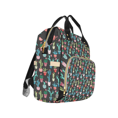 Cactus Pattern Print Design 02 Diaper Bag Backpack