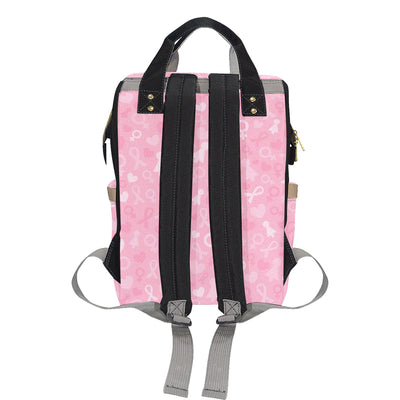 Breast cancer Pattern Print Design 01 Diaper Bag Backpack