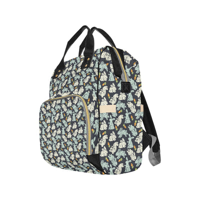 Bunny Pattern Print Design 04 Diaper Bag Backpack