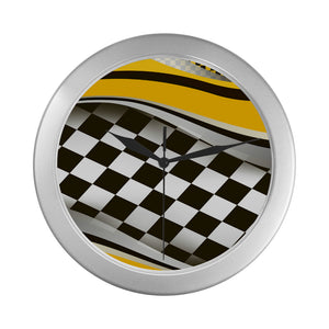 Checkered Flag Racing Style Wall Clock