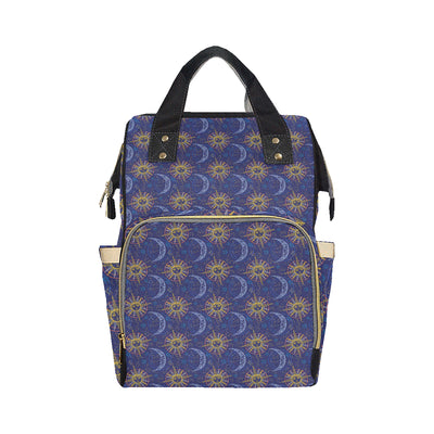 Celestial Moon Sun Pattern Print Design 01 Diaper Bag Backpack