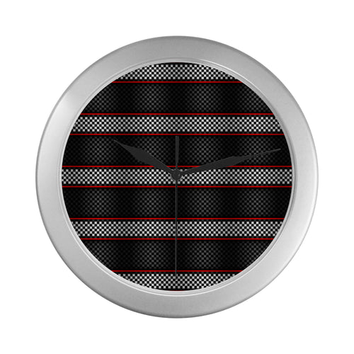 Checkered Flag Red Line Style Wall Clock