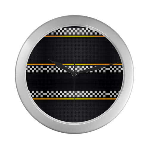 Checkered Flag Yellow Line Style Wall Clock