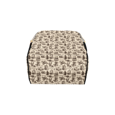 Camping Pattern Print Design 01 Diaper Bag Backpack