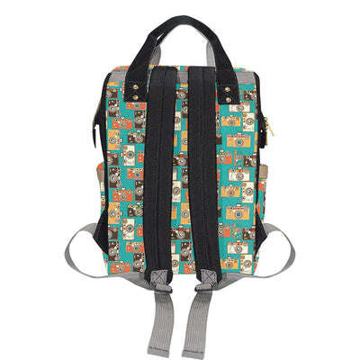 Camera Pattern Print Design 02 Diaper Bag Backpack