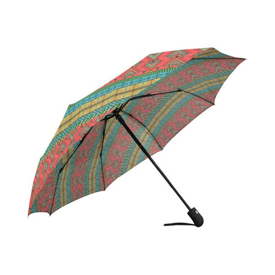 African Colorful Zigzag Print Pattern Automatic Foldable Umbrella