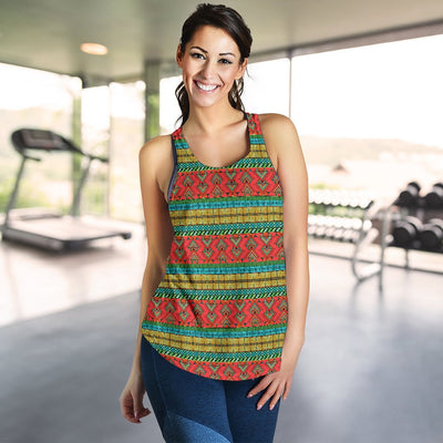 African Colorful Zigzag Print Pattern Women Racerback Tank Top
