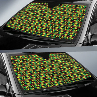 African Geometric Print Pattern Car Sun Shade For Windshield