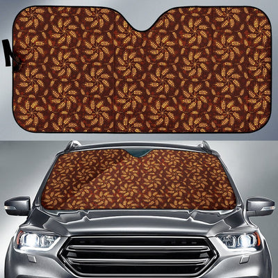 Agricultural Brown Wheat Print Pattern Car Sun Shade For Windshield