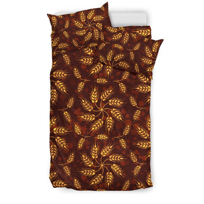 Agricultural Brown Wheat Print Pattern Duvet Cover Bedding Set