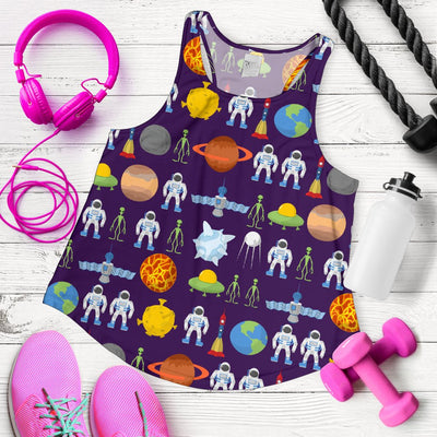 Alien Astronaut Planet Women Racerback Tank Top
