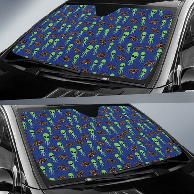 Alien Green UFO Pattern Car Sun Shade For Windshield