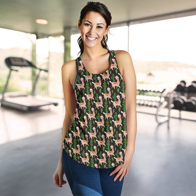 Alpaca Cactus Design Themed Print Women Racerback Tank Top