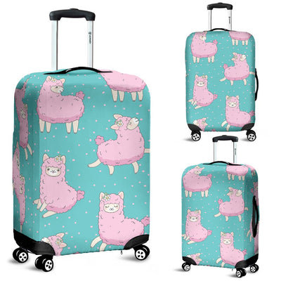 Alpaca Cartoon Design Themed Print Luggage Cover Protector