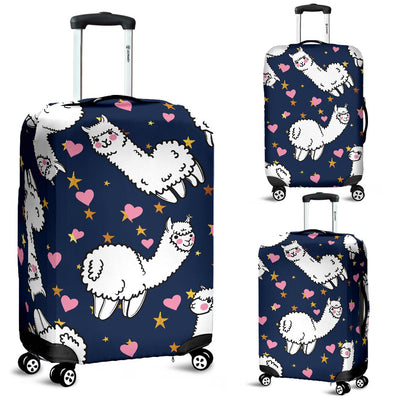 Alpaca Heart Star Design Themed Print Luggage Cover Protector