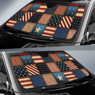 American Flag Patchwork Design Car Sun Shade For Windshield