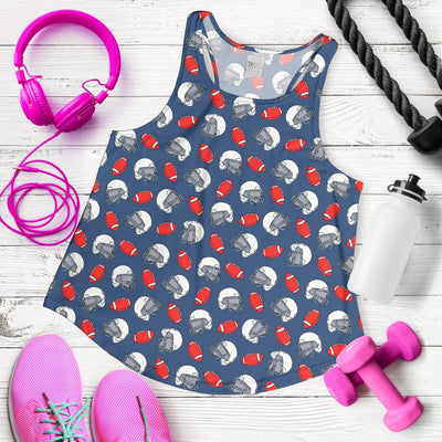 American Football Helmet Design Pattern 2 Women Racerback Tank Top