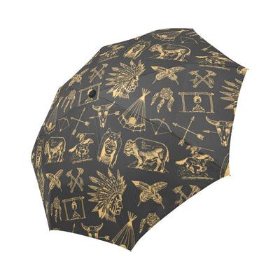 American indian Gold Style Automatic Foldable Umbrella