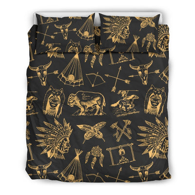 American Indian Gold Style Duvet Cover Bedding Set