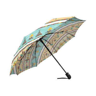American indian Life Pattern Automatic Foldable Umbrella