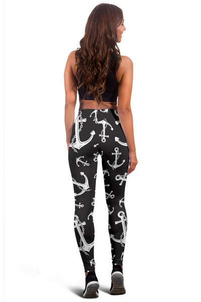 Anchor Black White Women Leggings