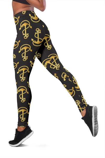 Anchor Gold Pattern Women Leggings