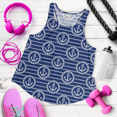 Anchor Stripe Pattern Women Racerback Tank Top